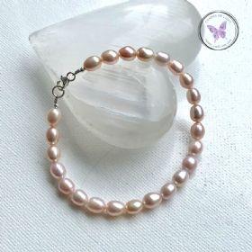 Pink Pearl Bracelet With Silver Clasp